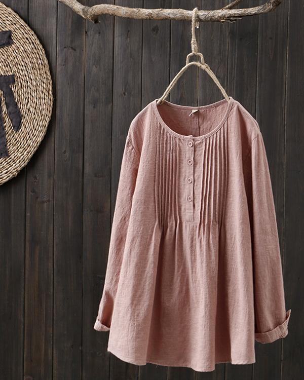 Crew Neck Casual Buttoned Long Sleeve Plus Size Blouses Tops