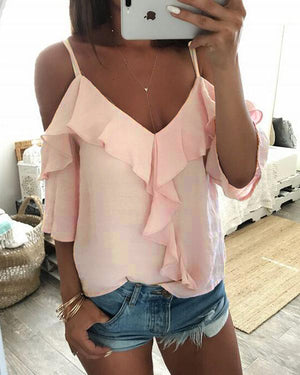 Pink Ruffled Sleeveless V Neck Solid Shirts & Tops