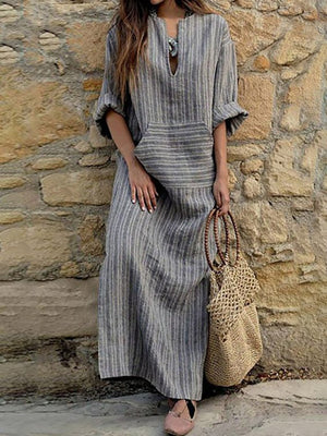 V neck Sheath Women Cotton Stripe Half Sleeve Paneled Plain Fall Dress