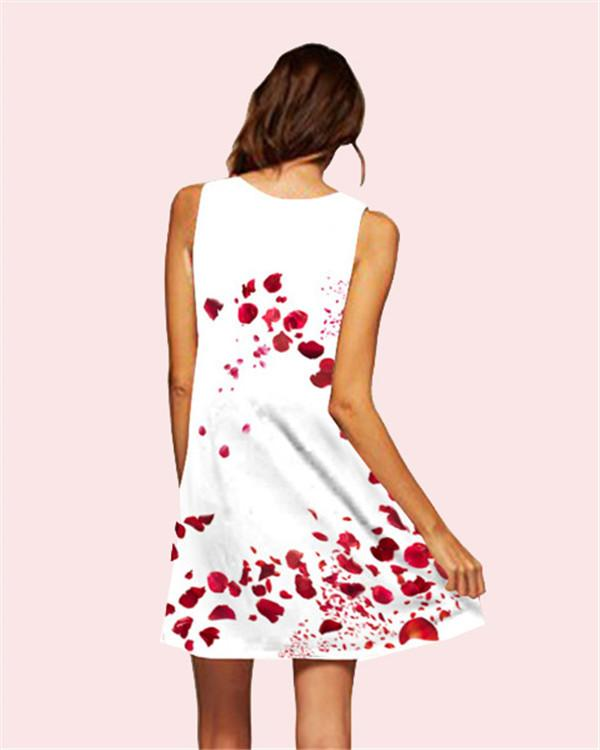 Rose Printed Sleeveless Beach Dress