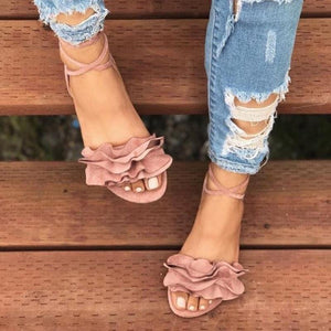 Large Size Women Summer Flocking Flower Bandage Flat Sandals Women Slipper Shoes