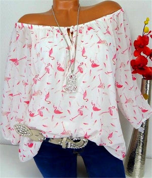 Flamingo Print 3/4 Sleeve Blouses Tops