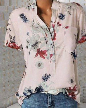 Print Floral Short Sleeve V Neck Casual Blouse