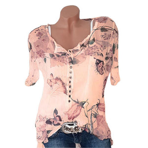 Fashionable Floral Printed V-neck Short Sleeve Blouses