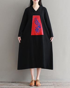 Women Literary Ethnic Retro Embroidery Loose Cotton  Dress