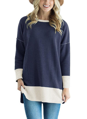 Crew Neck Paneled Cotton Casual Hoodies Top And Sweatshirt