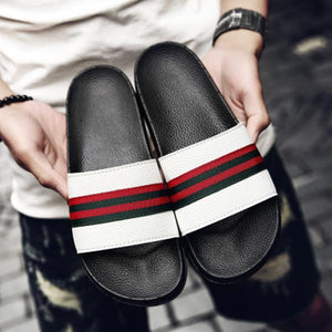 Men Summer Beach Slippers Ribbon Fashion Flip Flop Slides Shoes