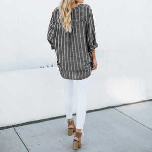 Women Plus Size Blouses Casual Striped Long Sleeve Asymmetric Tops