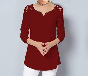 Plus Size Women Elegant Lace Patchwork Long Sleeve Solid Color Blouses Tops