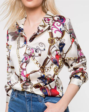 Women Casual Stand Collar Chains Printed Long Sleeve Blouse Tops