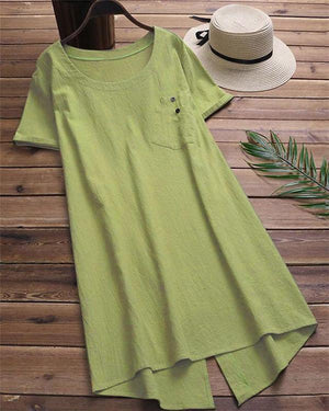 Summer Crew Neck Casual Solid Color Plus Size Dress