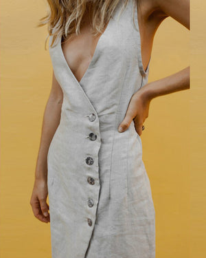 Summer Solid V-Neck Sling Single-Breasted Dress
