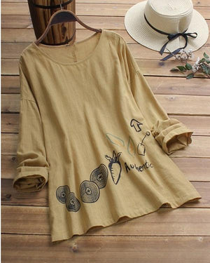 Plus Size Printed Casual Crew Neck Long Sleeve Blouses Tops