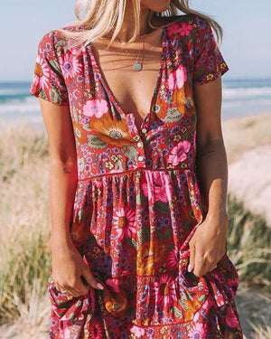 Women Floral Printed Slim Short Sleeve Vacation Dress