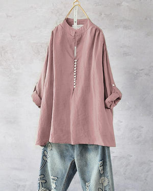 Loose Solid Color Irregular Long Sleeve Blouse For Women
