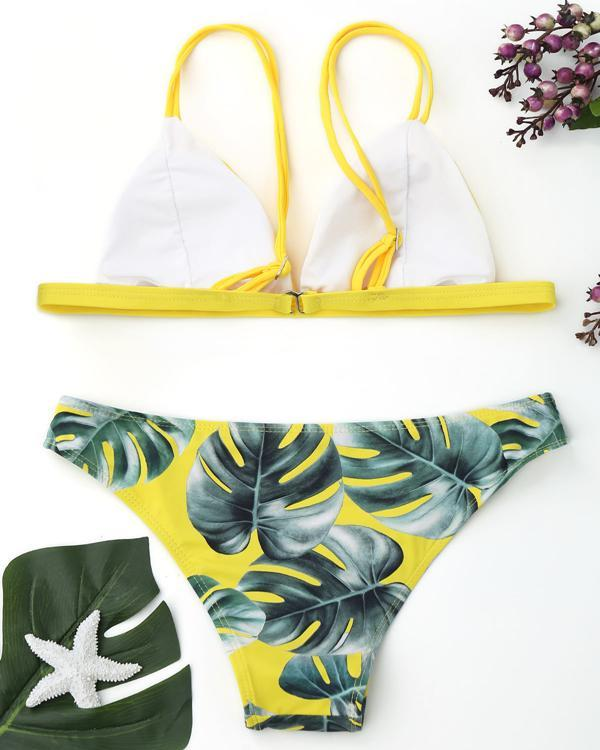 Women Leaves Printed Bikini Set Two Piece Swimsuits