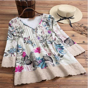 Vintage Floral Print Patchwork V-Neck 3/4 Sleeve Plus Size Blouse Tops