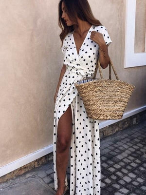Polka Dot Low Cut Short Sleeve Long Dresses