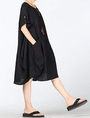 Crew Neck Women Shift Daytime Casual Solid Plus Size Dresses