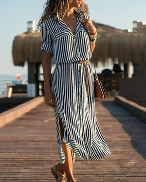 Black-White Half Sleeve Striped Shawl Collar Casual Dresses