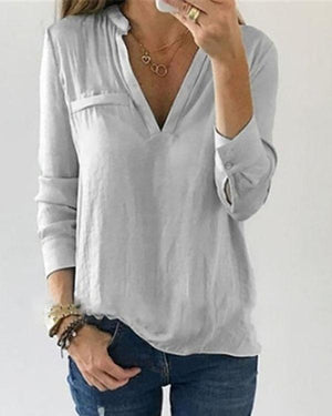 Buttoned Solid Casual Blouse