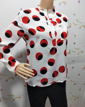 Women Plus Size Stand Collar Casual Polka Dots Printed Blouses Tops