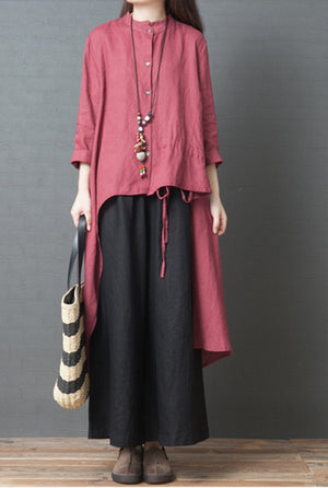 Fashion Pure Color National Style Loose Maxi Plus Size Tops