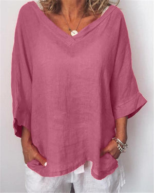Plus Size Casual Solid V Neck 3/4 Sleeve Blouses
