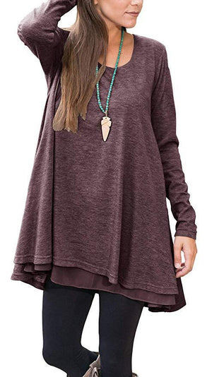Women's O Neck Solid Color Long Sleeve Pullover Tops T-shirts
