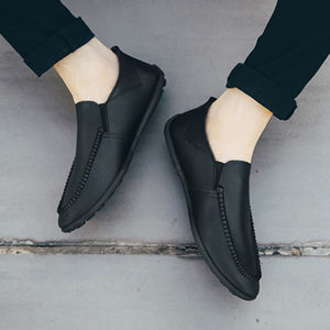 Men Genuine Leather Stiching Soft Shoes Slip-On Flats Loafers