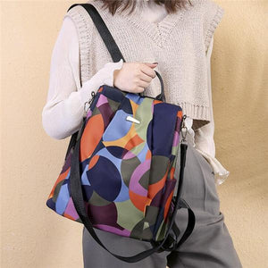 Fashion Oxford Contrast Color Multifunctional Anti-theft Waterproof Backpack
