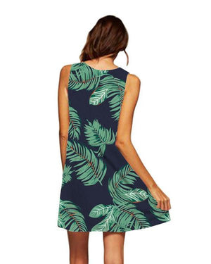 Casual Women Printed Sleeveless Crew Neck Mini Dress