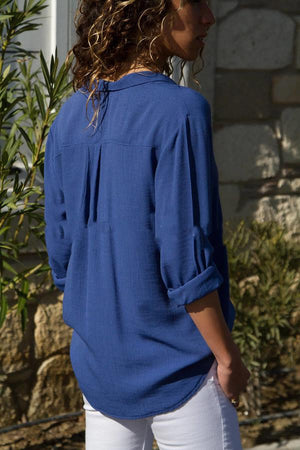 Chiffon Stand Collar Solid Plus Size Shirt
