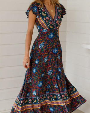 Ethnic Print Ruffled Sleeve Split Flower Wrap Belt Dress