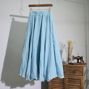 15 Colors Cotton&Linen Casual Solid Elastic A-line Skirts