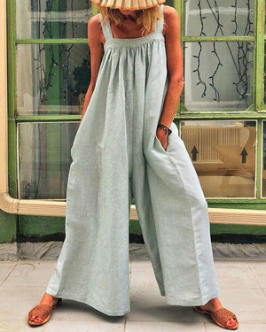 Solid Color Casual Sling Loose Jumpsuit