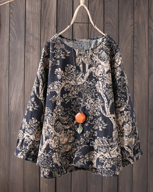 Vintage Printed Long Sleeve Crew Neck Plus Size Blouses Tops