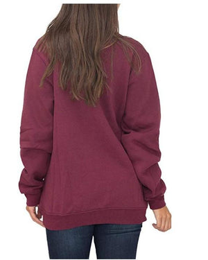Women Long Sleeve V-neck Loose Zipper Front Blouse Shirts Hoodies