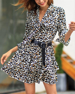 V Neck Leopard Printed Long Sleeve Slim Dress