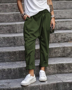 Solid Color Casual Pocket Elastic Waist Harem Pants
