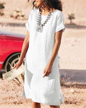 Women''s Bohemian Solid Holiday Daytime Mini Dress