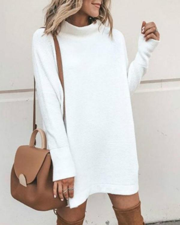 Turtle Neck Women White Dresses Shift Casual Solid Dresses