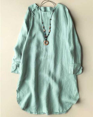 Women Vintage Solid Irregular Frog Button Plus Size Blouses Tops