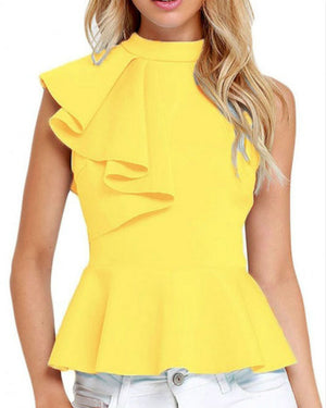 Cute Solid Color Sleeveless Zipper Up Ruffled High Neck Fashion Top