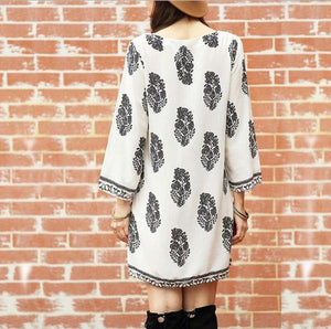 Women Daily Casual Long Sleeve Leaf Printed Plus Size Dress