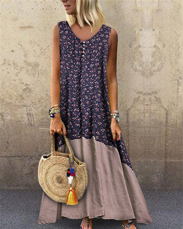 Floral Print Patch V Neck Sleeveless Vintage Dress