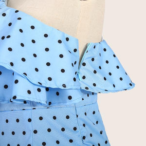 Fashion Strapless Polka Dot Plus Size Dress