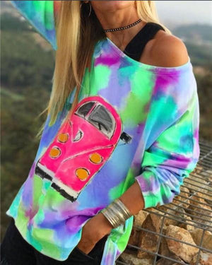 Colorful VM Bus Cartoon Printed Longs Loose Casual Holiday Daily Blouse