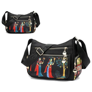 Women Multi-pocket Print Crossbody Bag Waterproof Shoulder Bag