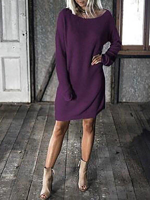 Purple Vintage Crew Neck Paneled Solid Casual Dress